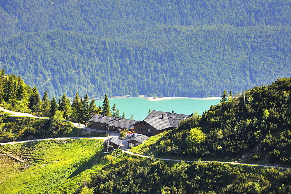 The mountain inn Herzogstand, in the back the Walchensee lake, district of Bad Toelz-Wolfratshausen, Bavaria, Germany, Europe