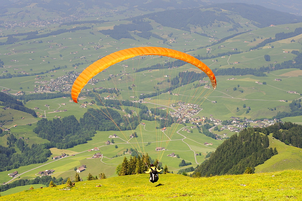 Paragliding or hang-gliding on Ebenalp Mountain, Canton of Appenzell Innerrhoden, Switzerland, Europe