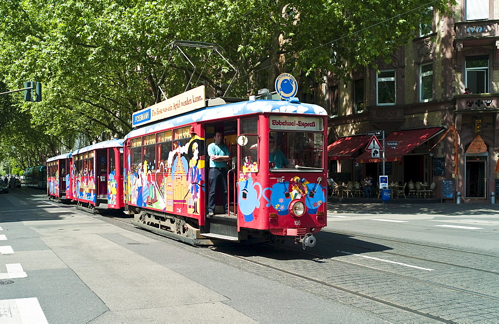 Cider or apple wine express, tram as a tourist attraction, in which alcoholic beverages are offered, Sachsenhausen, Frankfurt, Hesse, Germany, Europe