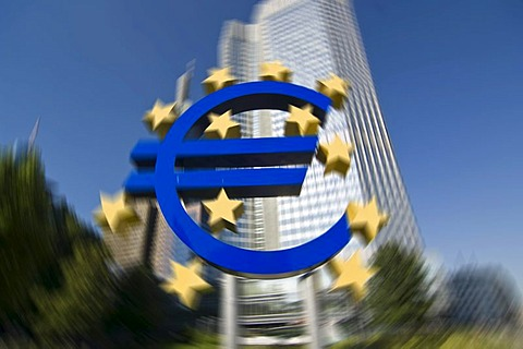 Euro sign in front of the European Central Bank ECB in Frankfurt, Hesse, Germany