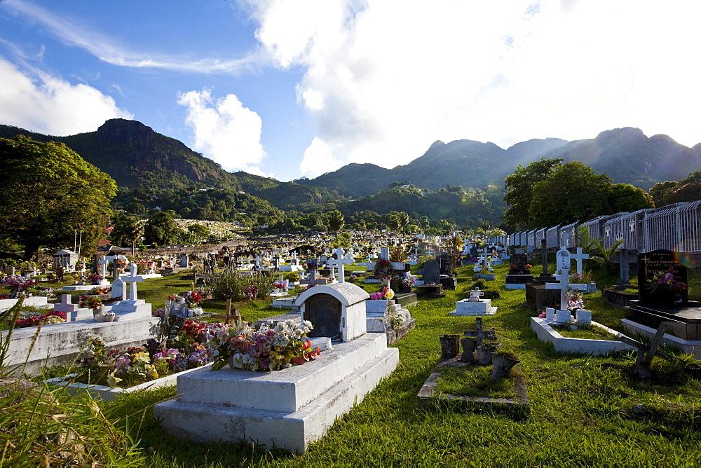 Cemetery of the capital city Victoria, Mahe Island, Seychelles, Indian Ocean, Africa