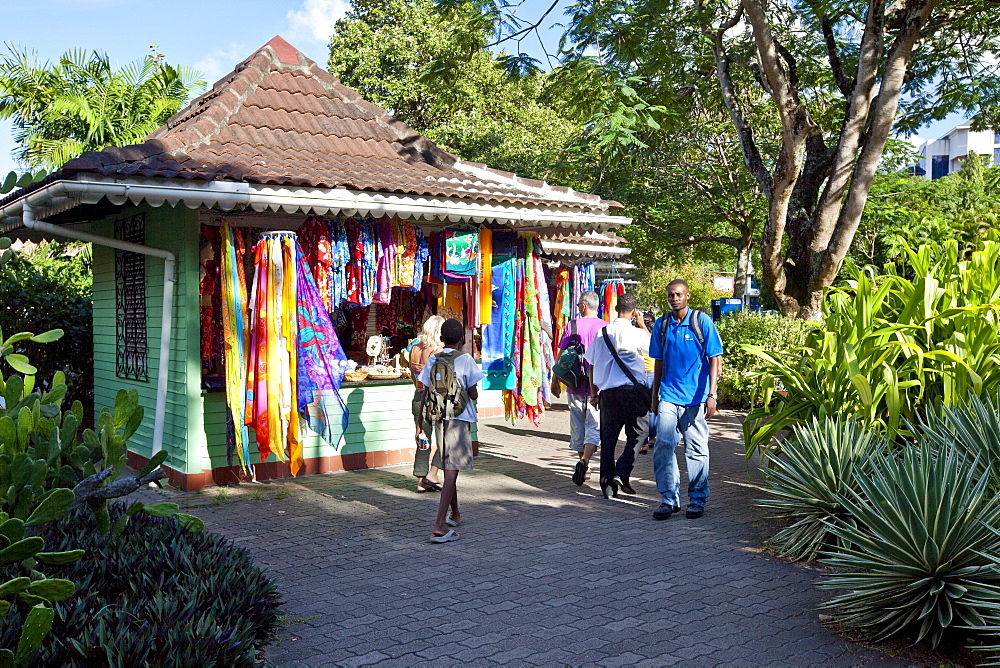 Souvenir shops, Francis Rachel Street, capital city Victoria, Mahe Island, Seychelles, Indian Ocean, Africa