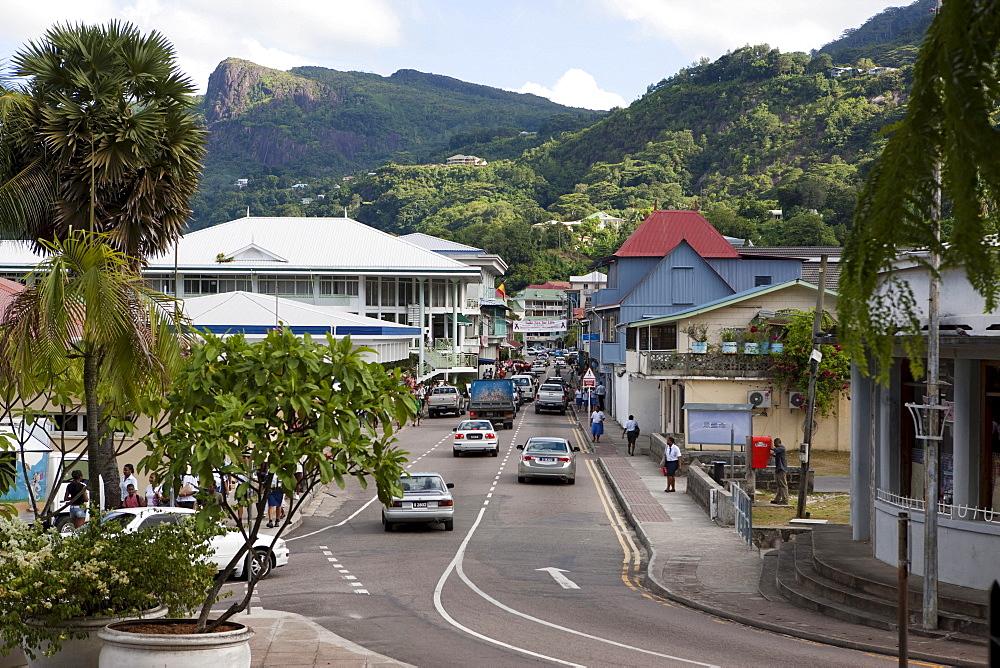 View of Albert Street, capital city Victoria, Mahe Island, Seychelles, Indian Ocean, Africa