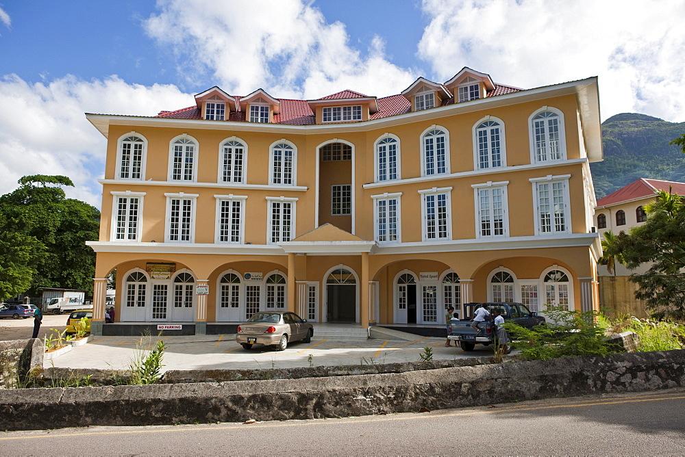 Office building, Oliver Maradan Street, capital city Victoria, Mahe Island, Seychelles, Indian Ocean, Africa