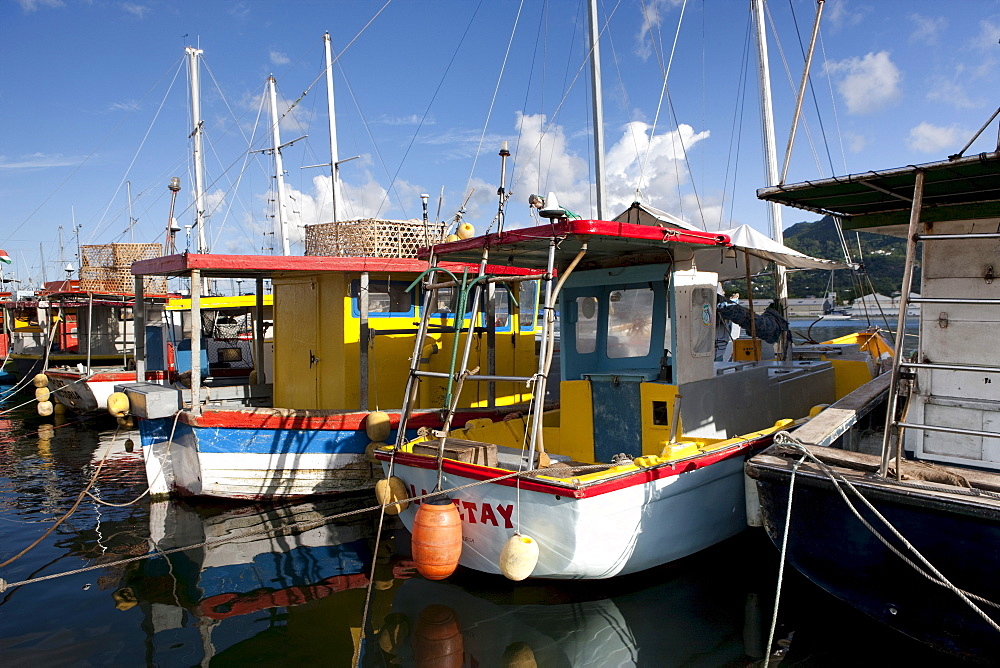 Fishing boats in the harbor of Victoria, Mahe Island, Seychelles, Indian Ocean, Africa