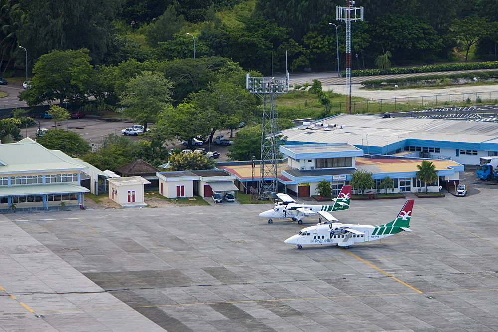 Aircrafts of Air Seychelles for domestic flights, airport of Mahe, Mahe Island, Seychelles, Indian Ozen, Africa