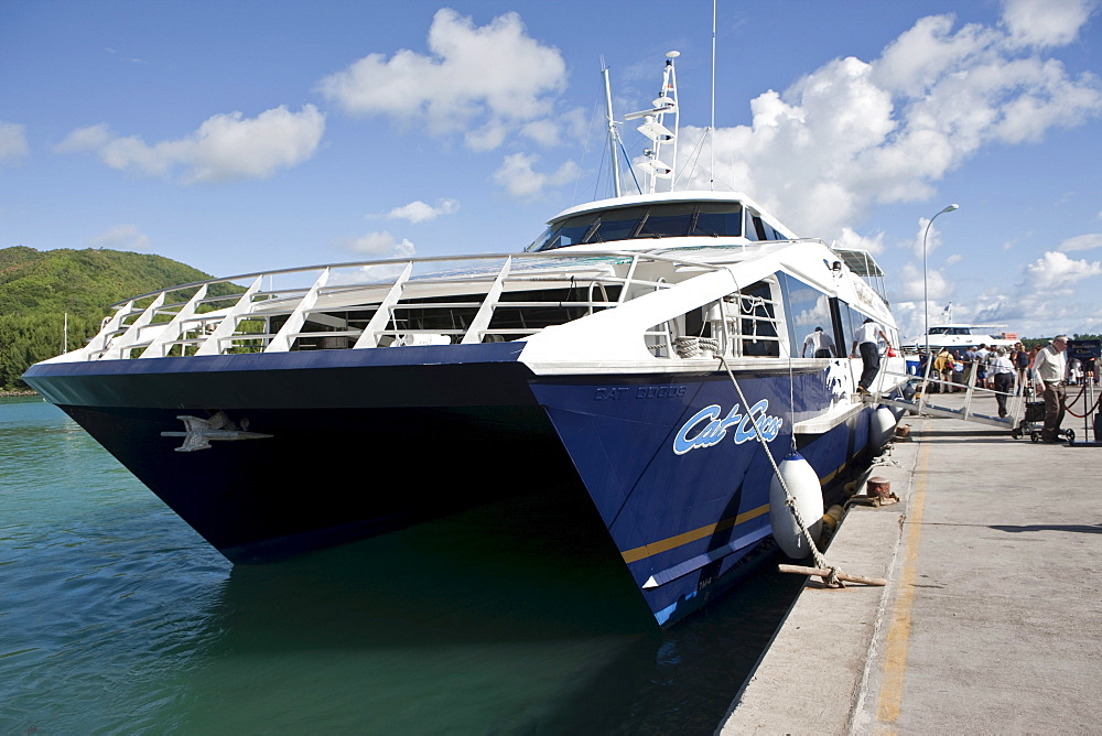 Cat Cocos ferry in the port of Praslin, linchpin of the island of Praslin, Praslin Island, Seychelles, Indian Ocean, Africa