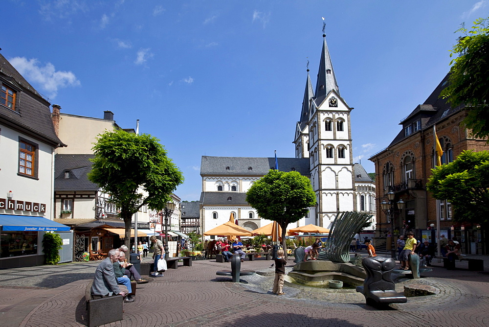 The romanic St. Severus church of 1236, market square, Boppard, Rhein-Hunsrueck-Kreis district, Rhineland-Palatinate, Germany, Europe