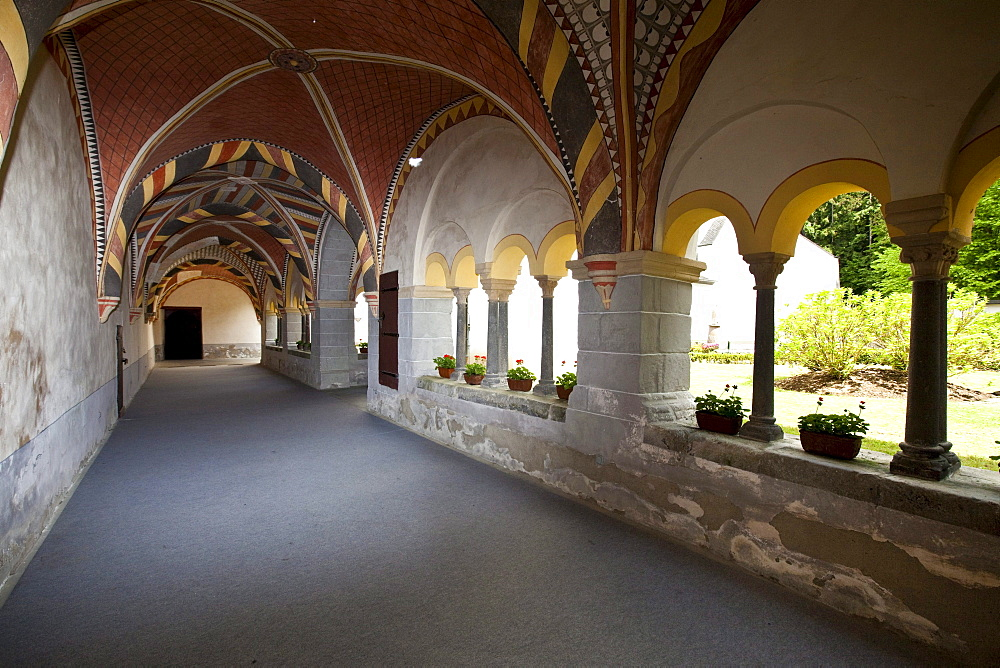 The The The abbey of Sayn with cloister, Sayn, Koblenz, Rhineland-Palatinate, Germany, Europe