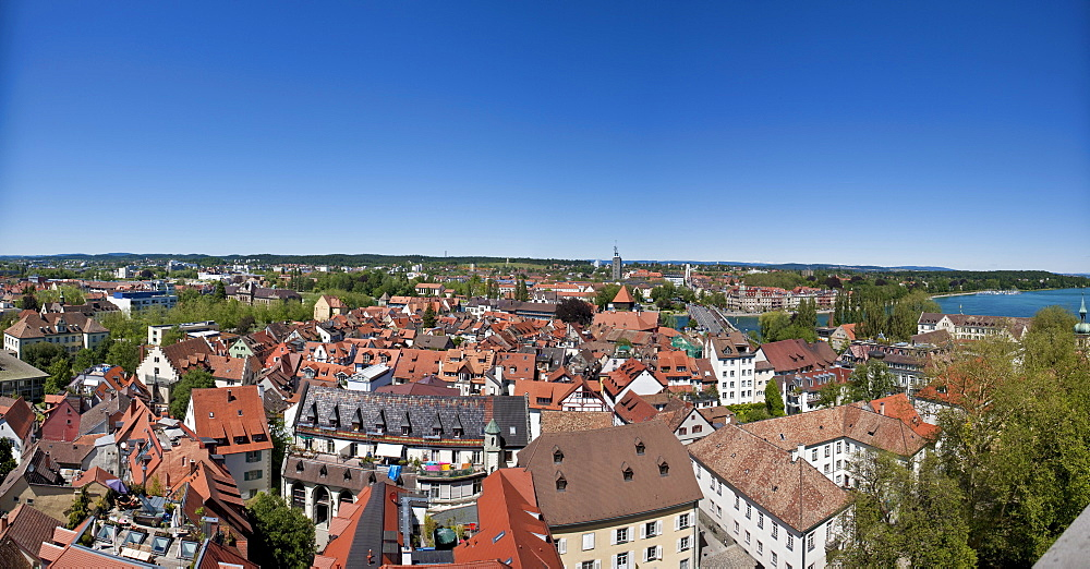 Overlooking the historic centre of Konstanz, Lake Constance on the right, Baden-Wuerttemberg, Germany, Europe