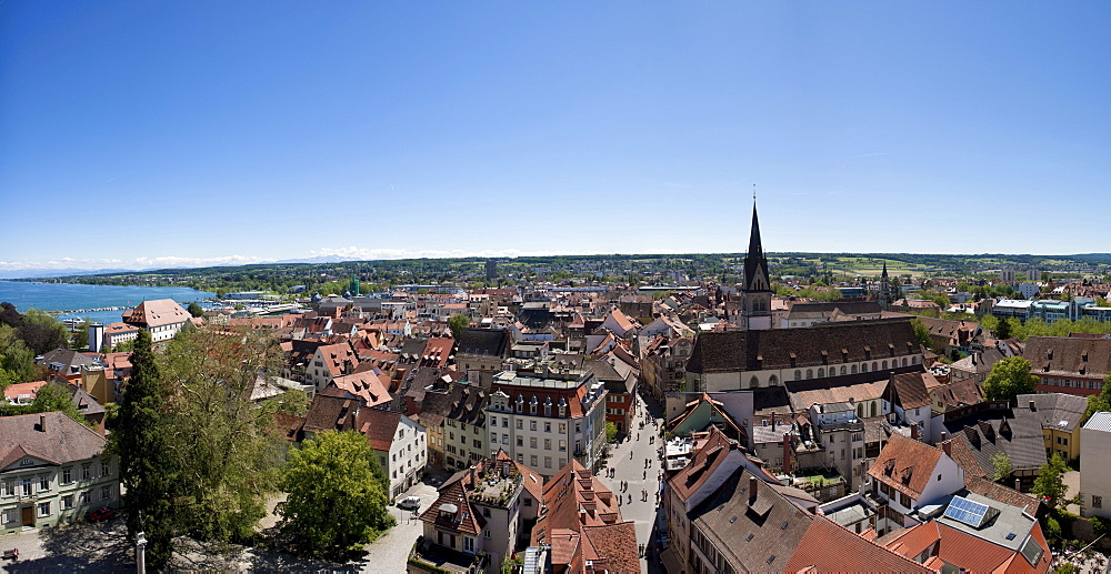 Overlooking the historic centre of Konstanz, Lake Constance on the left, Baden-Wuerttemberg, Germany, Europe