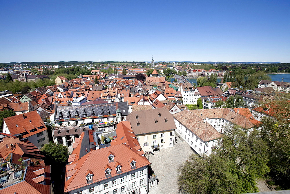 Overlooking the historic centre of Konstanz, Lake Constance, Baden-Wuerttemberg, Germany, Europe