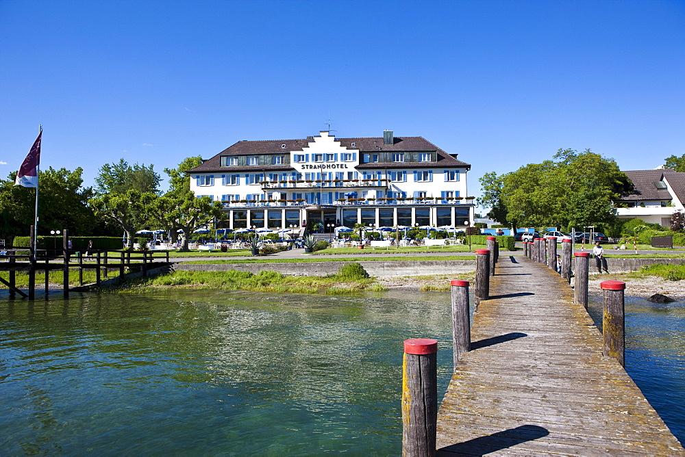 Loechnerzell beach hotel, Mittelzell, Reichenau Island, Lake Constance, Baden-Wuerttemberg, Germany, Europe