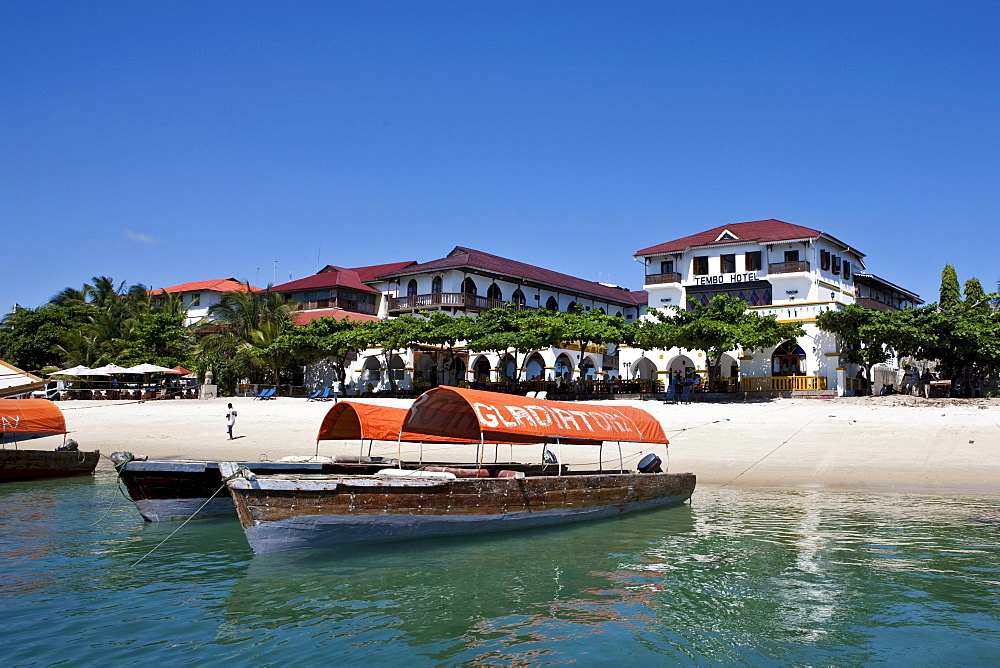 Tembo Hotel on the harbour of Stonetown, Zanzibar, Tanzania, Africa