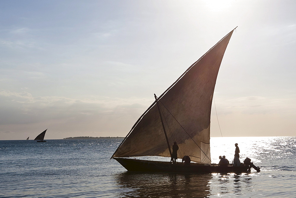Arab dhow on the coast in front of Stonetown, Zanzibar, Tanzania, Africa