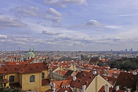 Cityscape from the castle hill, UNESCO World Heritage Site, Prague, Czech Republic, Europe