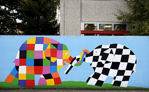 Mural with colourful elephants on the wall of a Kindergarden, Nuremberg, Franconia, Bavaria, Germany,
