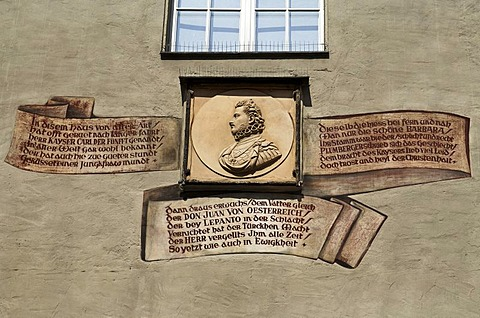 Portrait of Don Juan and names of famous guests on the Goldenes Kreuz restaurant, Regensburg, Upper Palatinate, Bavaria, Germany, Europe