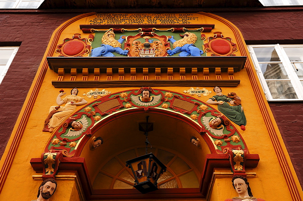 Colourful Renaissace entrance portal of the Raths-Apotheke pharmacy, Lueneburg, Lower Saxony, Germany, Europe