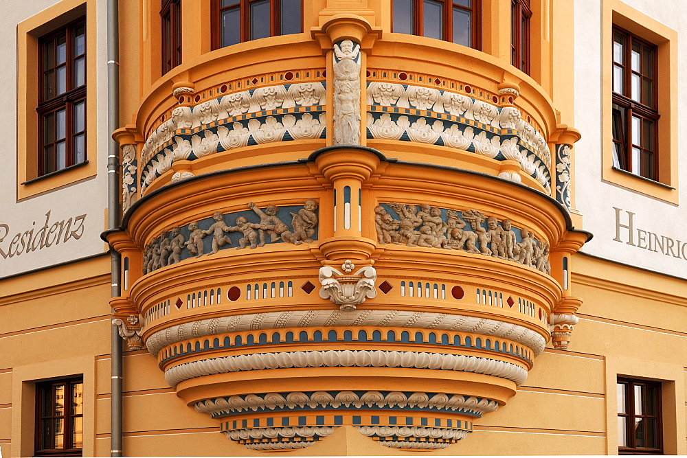 Decorative bay, detail, at an old house on the Neumarkt square, Dresden, Saxony, Germany, Europe