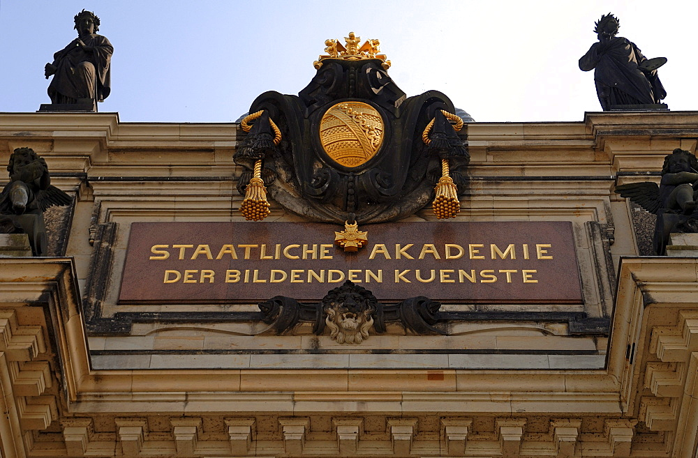 Entrance facade of the Staatliche Akademie der Bildenden Kuenste, State Academy of Fine Arts, Dresden, Saxony, Germany, Europe