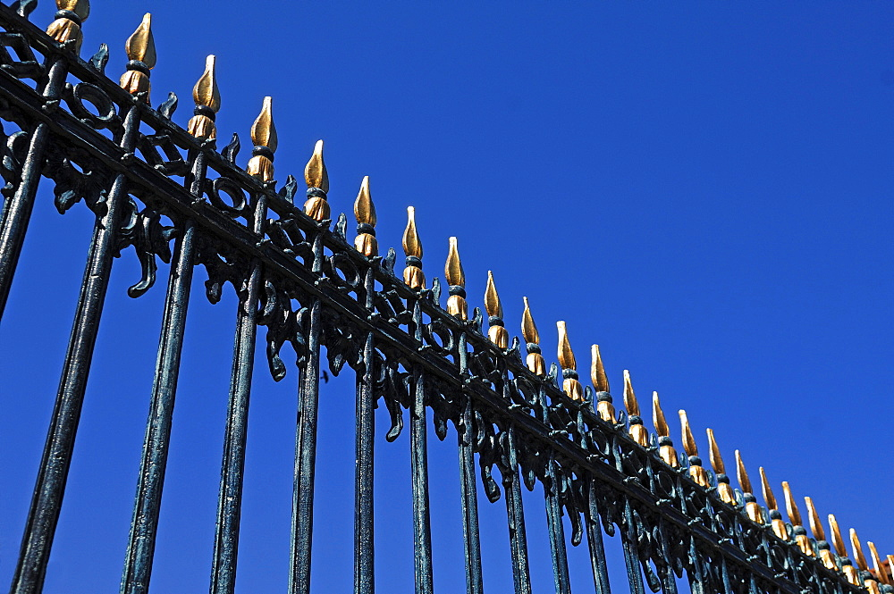 "Iron fence detail, from the ""Erbdrostenhof"" building, baroque noble palace, Muenster, North Rhine-Westphalia, Germany, Europe"