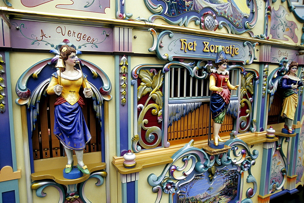 Barrel organ Het Zonnetje, portable musical instrument, Gouda, province of South Holland, Zuid-Holland, Netherlands, Benelux, Europe