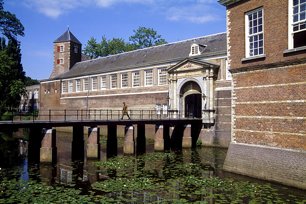 Entrance to the castle, Kasteel van Breda, the KMA Royal Military Academy is located in the Castle, Breda, Province of North Brabant, Noord-Brabant, Netherlands, Benelux, Europe