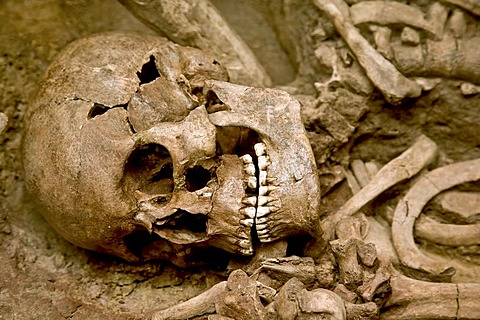 Human skeleton in an open grave