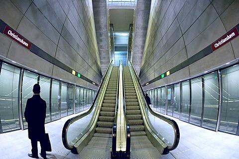 Waiting for trains, subway station, Copenhagen, Denmark, Europe