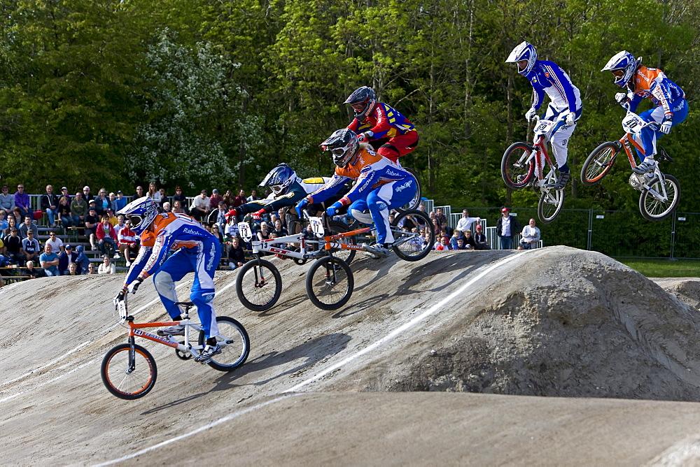Six racing competitors at the BMX Supercross World Cup, Copenhagen, Denmark