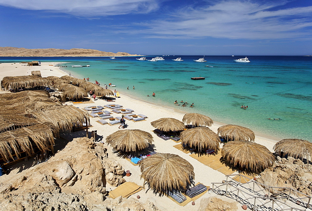 Beach, parasols, lagoon, swimmers, people, ships, Beach Mahmya, beach, Giftun Island, Hurghada, Egypt, Africa, Red Sea