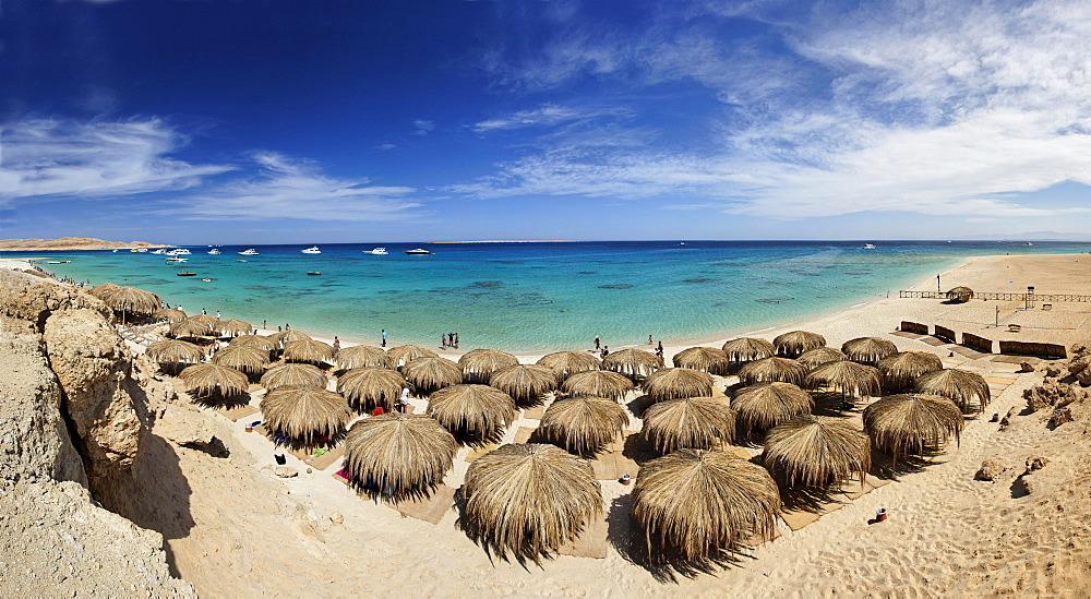 Panorama, Mahmya, beach, parasols, people, ships, lagoon, horizon, Giftun Island, Hurghada, Egypt, Africa, Red Sea