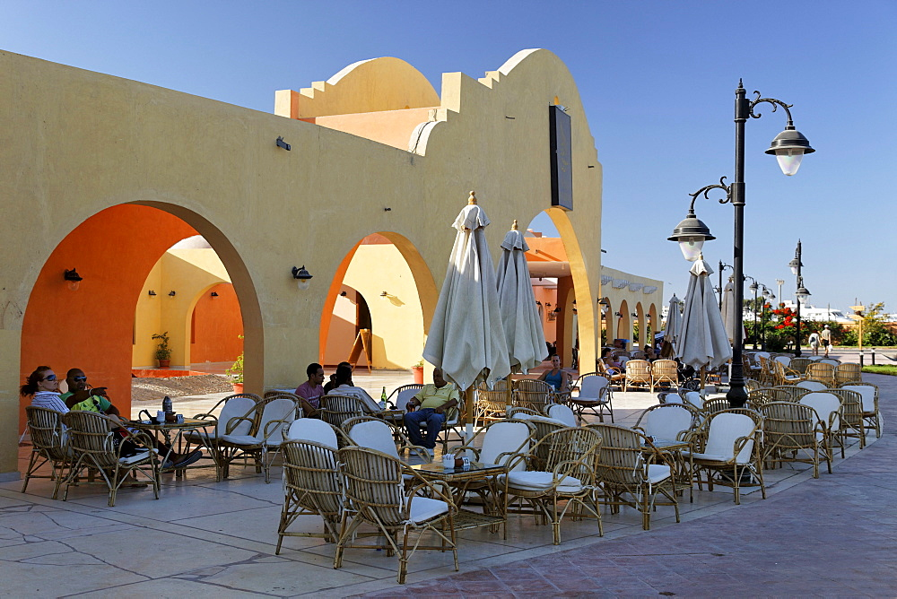 Bar, entrance to traditional market, souk, Hurghada, Egypt, Red Sea, Africa