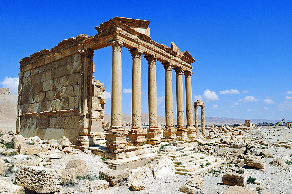 Ruins of the Perystil, grave temple in the excavation site of Palmyra, Tadmur, Syria, Asia