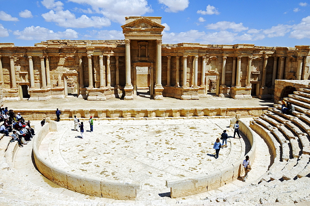 Theater in the ruins of the Palmyra archeological site, Tadmur, Syria, Asia