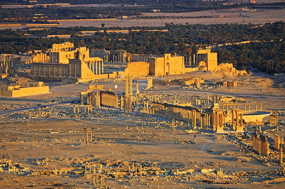 View from the castle Qala'at Ibn Ma'n on the ruins of the Palmyra archeological site, Tadmur, Syria, Asia