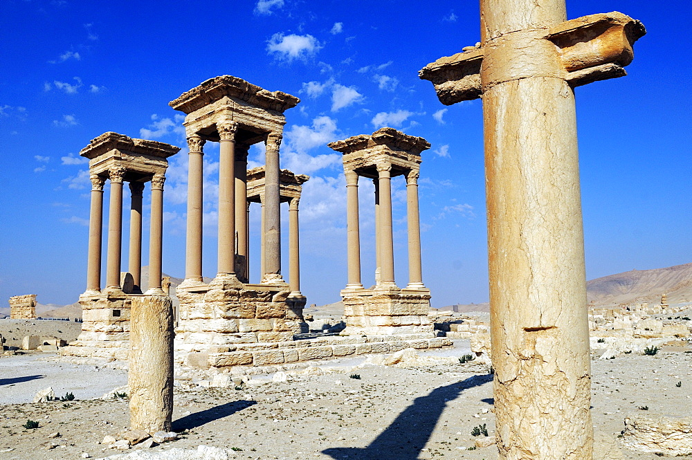 Tetra pylon in the ruins of the Palmyra archeological site, Tadmur, Syria, Asia