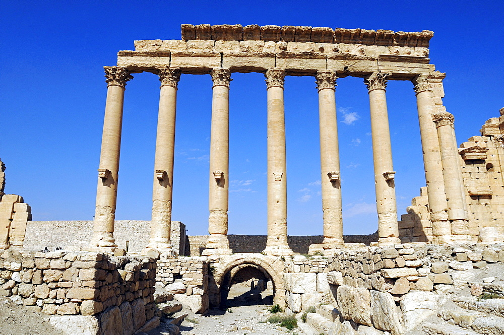 Temple of Baal, Aglibol, Yarhibol, in the ruins of the Palmyra archeological site, Tadmur, Syria, Asia