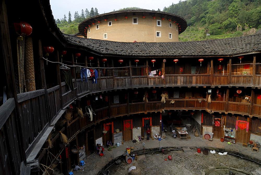 Round courtyard of a Tulou round house, dirt round houses, adobe round houses, the Chinese minority Hakka, near Yongding and Hukeng, Fujian, China