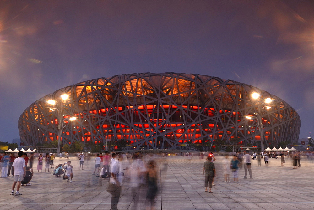National Stadium, bird's nest, in the evening, Beijing, China, Asia - 832-233679