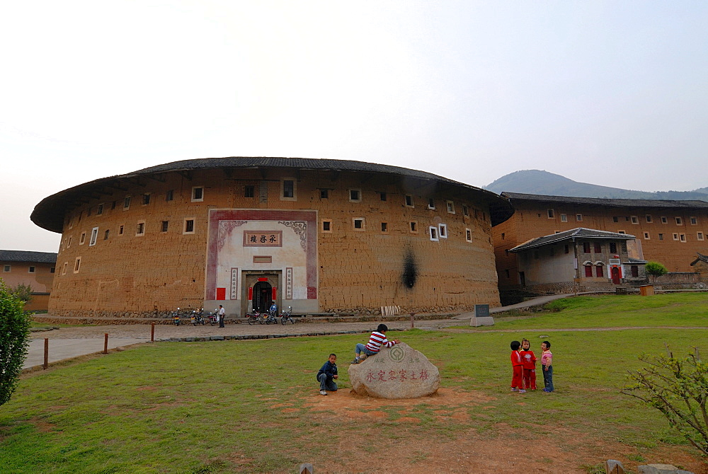 Round houses in Yongding and Hukeng, adobe round houses, Chinese: Tulou, of the Hakka, the Chinese minority, Fujian, China, Asia