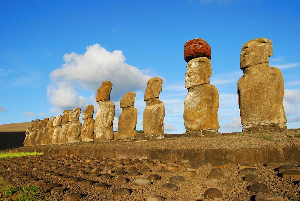 Moai, on Ahu Tongariki, Easter Island, Pacific
