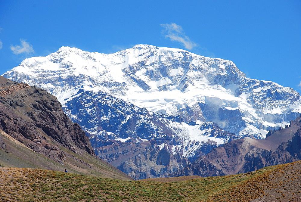Mt Aconcagua, with 6970 metres highest peak in America, Mendoza region, Argentina, South America