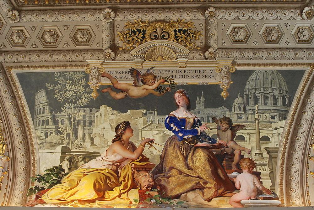 Ceiling, Galleria dei Candelabri, Candelabra Gallery, Vatican Museums, historic city centre, Vatican City, Italy, Europe
