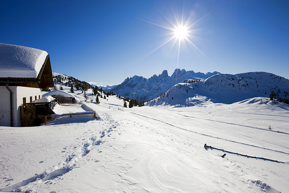 Snow-covered mountain lodge on the Plaetzwiese high plateau, view towards Monte Cristallo, Dolomites, South Tyrol, Italy, Europe