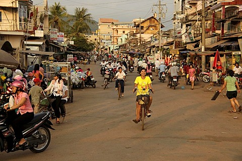 Bicyclists in Duong Dong, Phu Quoc island, Vietnam, Asia