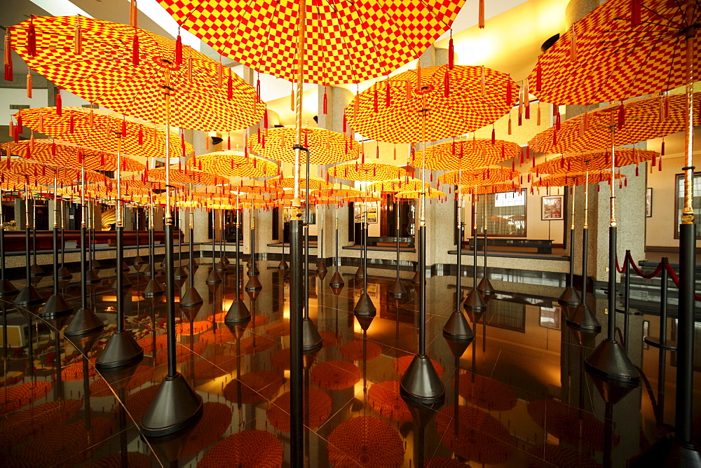 Umbrellas in the Royal Treasury, Royal Regalia Museum in the capital city, Bandar Seri Begawan, Brunei, Asia ***Restrictions: Industry: Financial, Usage: All Print Media & Online, Territories : World, Exclusivity: Industry Exclusivity, Duration:1 Years, S