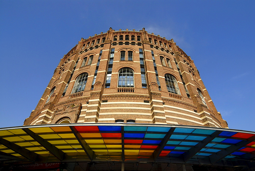 Front view the renovated Historic Gasometer A in Simmering, Vienna, Austria, Europe