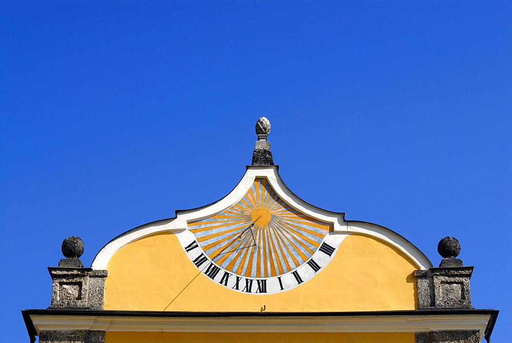 Sundial on Hellbrunn Palace in Salzburg, Austria, Europe